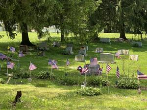 pic of Saxonburg Cemetery decorated with fresh flags