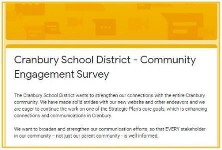 screenshot of survey page