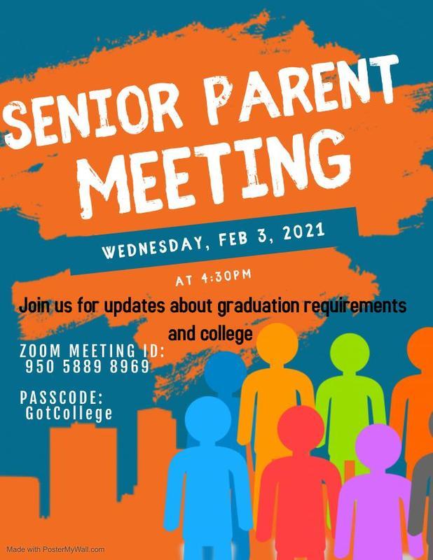 Senior Parent Meeting/Clase del 2021 - Junta de Padres Thumbnail Image