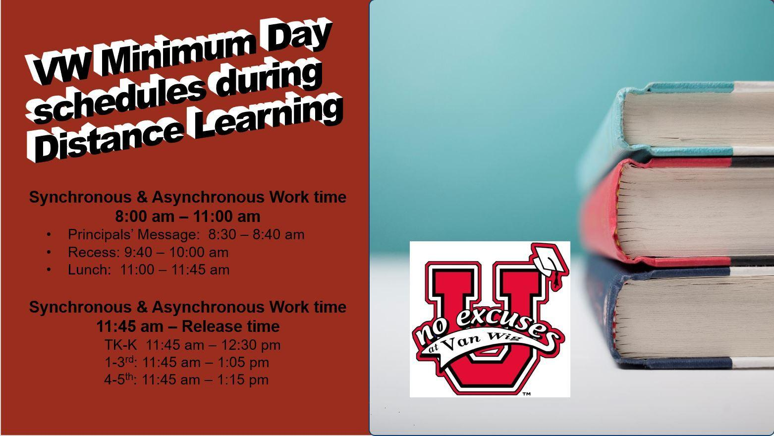 Picture of books and No Excuses University logo with the schedule for Minimum Day