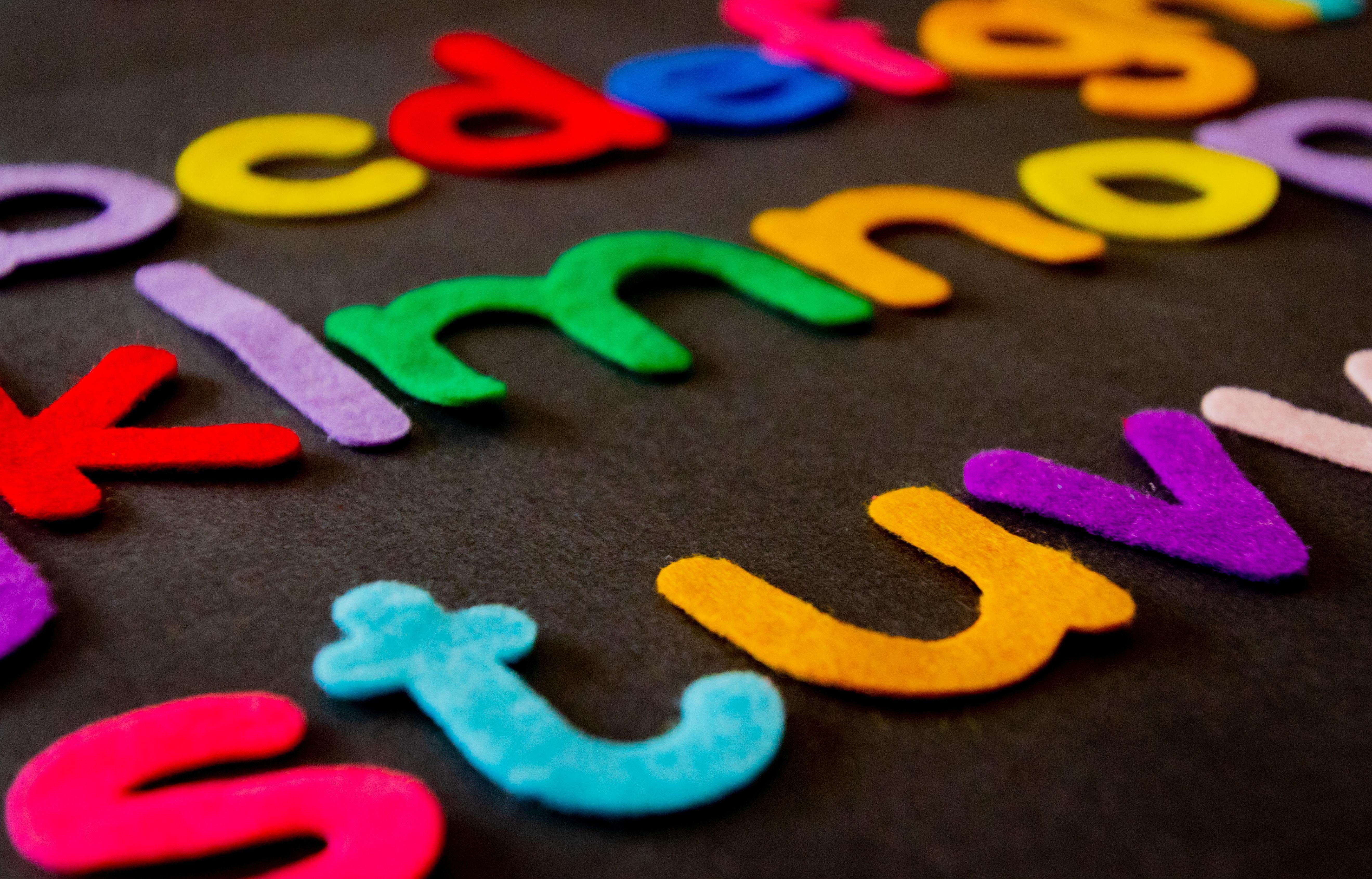 Colorful felt letters