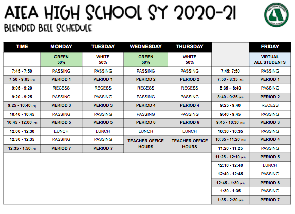 Blended Learning Bell Schedule