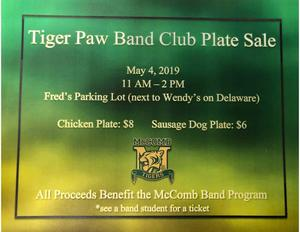 Tiger Paw Band Club Plate Sale May 4, 2019