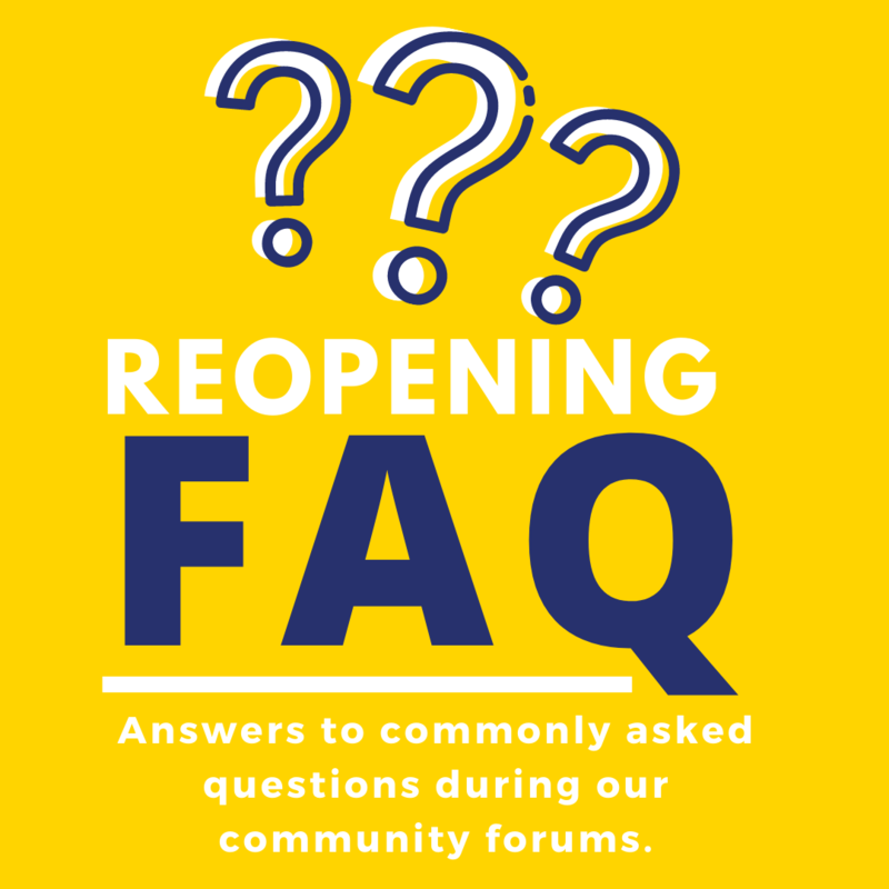 Reopening FAQ with yellow background and wording