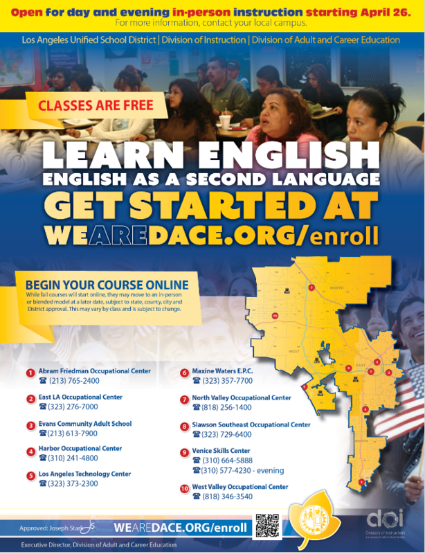 ESL CLASSES REOPENING FOR IN PERSON INSTRUCTION