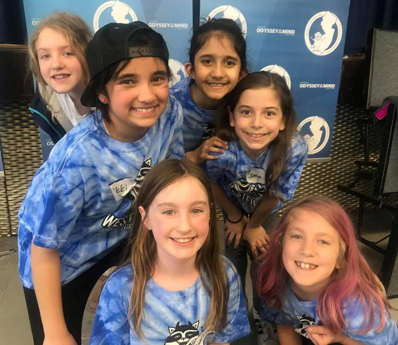 Three Westfield teams are advancing to the Odyssey of the Mind state finals, after placing 1st in a regional competition on March 10.  Pictured here are members of the Tamaques Division 1 team with students from both Tamaques and Jefferson Schools.   Front (L-R):  Madeline Schlitzer, Etta Schaefer Middle:  Nikki Patel, Sonya Seideman Back:  Alice Schaefer, Mahie Panjwani Not pictured:  Bridget Whitlock