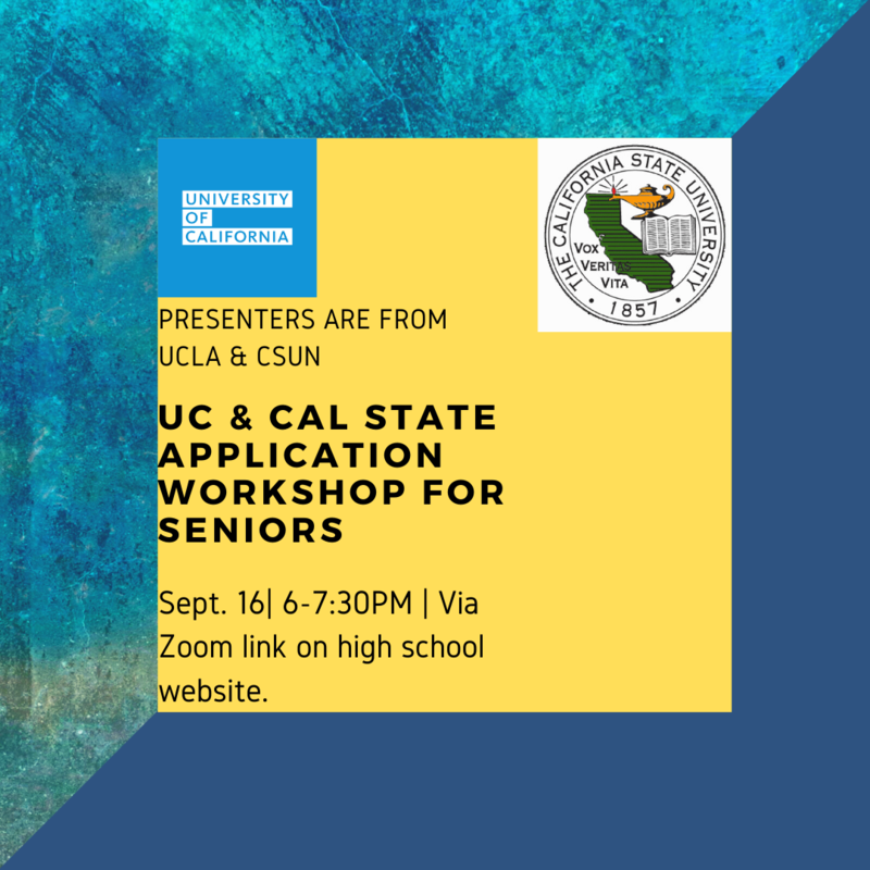 Senior UC and Cal State Application Workshop Thumbnail Image
