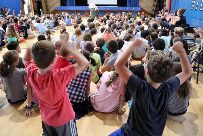 Washington School students and staff react with excitement to the video announcement by U.S. Secretary of Education Betsy DeVos that Washington is a 2019 National Blue Ribbon School.