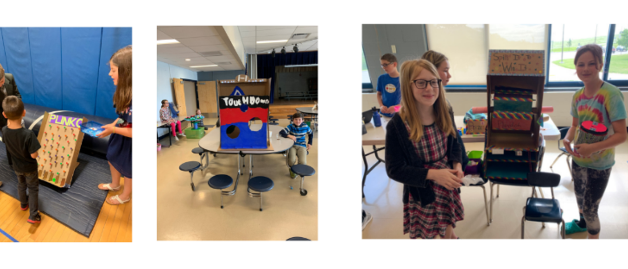 5th grade students showing off their arcade games