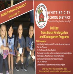 Flyer for TK & Kinder Information Night