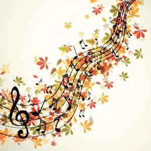Fall leaves and music notes