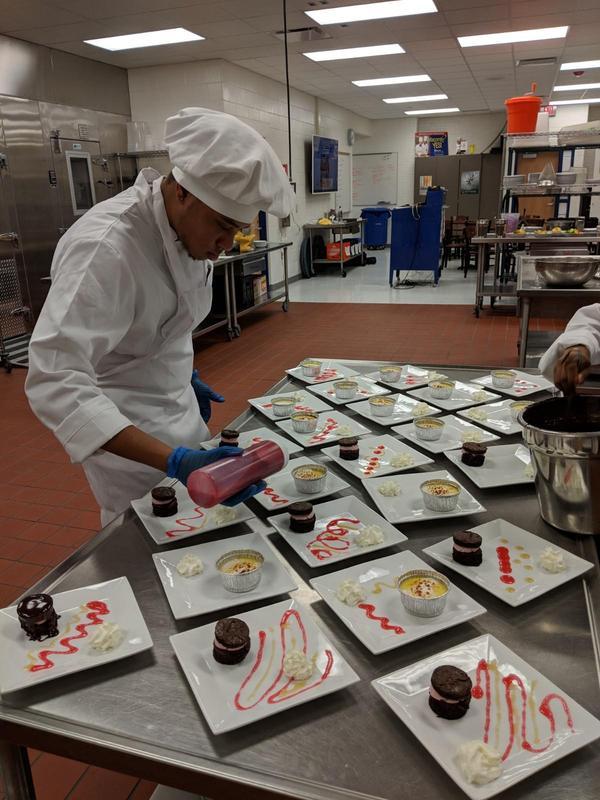 student making desserts.