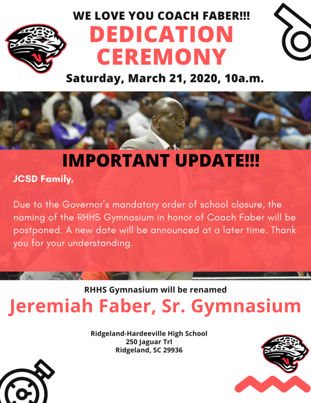 Naming of the RHHS Gymnasium in honor of Coach Faber postponed