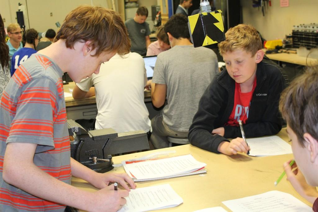Manufacturing students learn machine safety before getting their hands on the equipment.