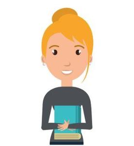 Cartoon image of teacher with blonde hair and a grey shirt holding a blue book.