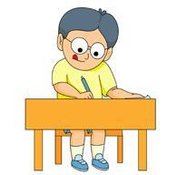 Cartoon boy taking test