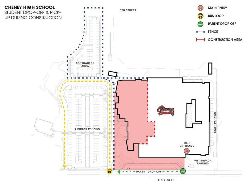 Cheney High School - parking and school entrance Thumbnail Image