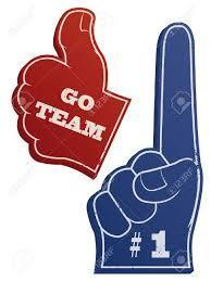 Go team! with thumbs up and #1 pointer finger up.