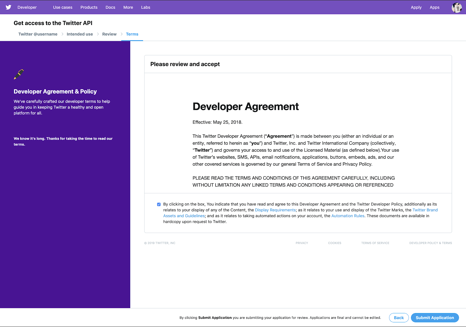 Review and accept developer agreement