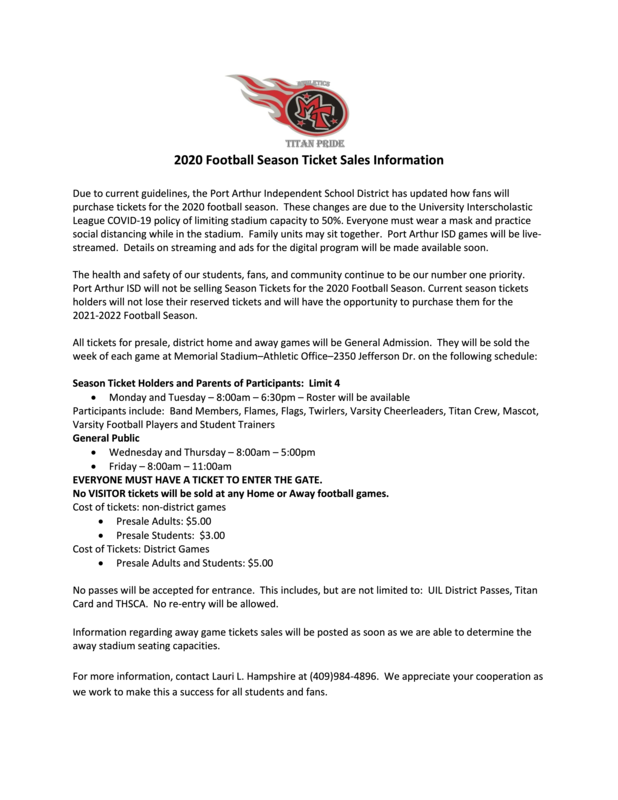 2020 TITAN FOOTBALL SALE GUIDELINES Featured Photo