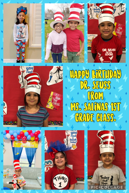 picture of students celebrating Dr. Seuss birthday