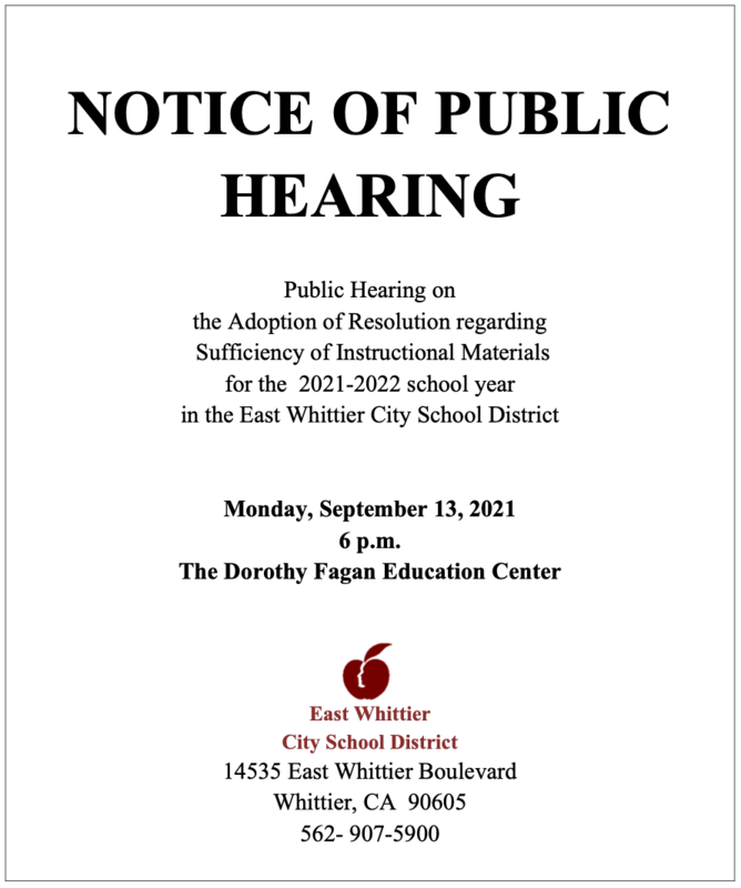 Screenshot of the public hearing notice.
