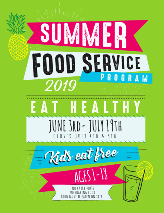 This is the front of our summer food program flyer.