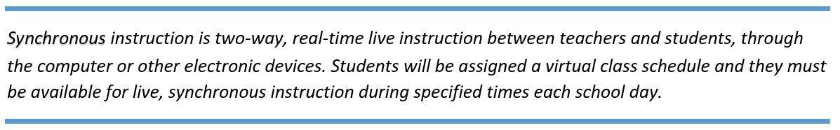 Synchronous instruction is two-way, real-time live instruction between teachers and students, through the computer or other electronic devices. Students will be assigned a virtual class schedule and they must be available for live, synchronous instruction during specified times each school day.