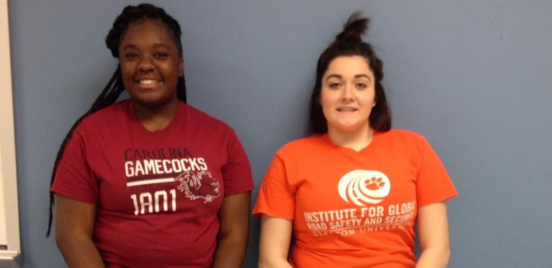 Students wearing USC and Clemson shirts for College Day Wednesday.