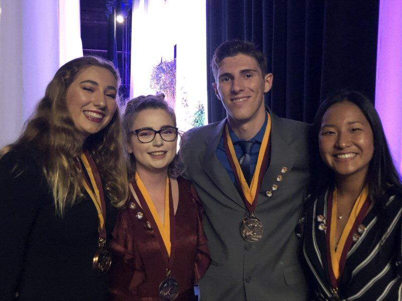 Golden Hawk Awards night with IB class of 2019:  Emma, Cambria, Vincent, and Leyna pictured