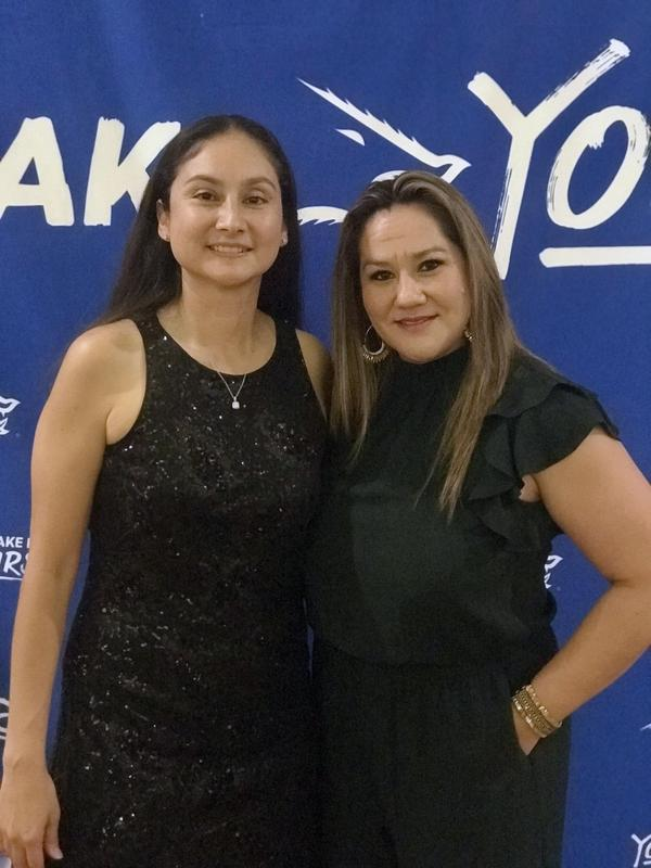 Economedes High School Girls Head Basketball Coach Mariana Casarez Campos (left) and Kennedy Elementary School Physical Education Coach Lesley Zambrano Salinas (right) are pictured during the induction ceremony of the 2019 Javelina Hall of Fame at Texas A&M University-Kingsville.