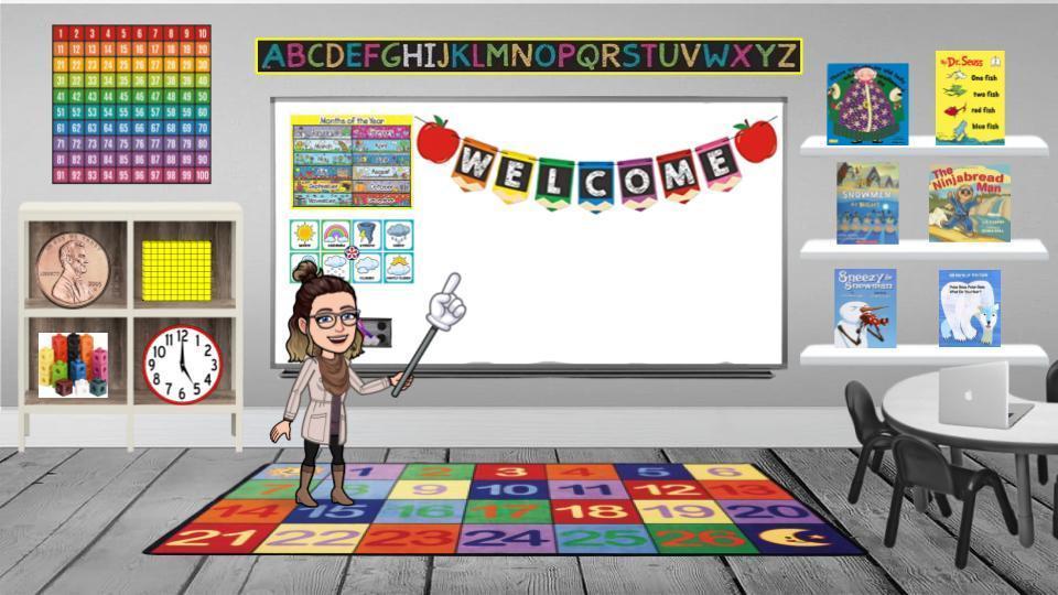 Bitmoji Classroom with welcome on whiteboard