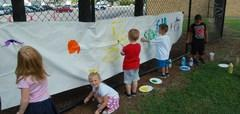 Southview students doing artwork outside