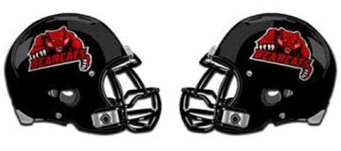 Two black football helmets facing each other with the Bearcats logo on them