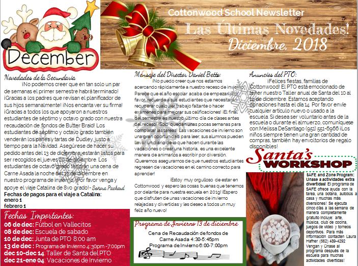 December Newsletter in Spanish