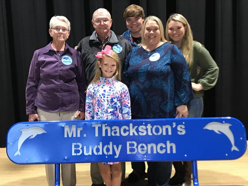 Sarah-Katherine Cantrell, front row left, with members of the Thackston family -- from back row left, Carol Thackston, Tip Thackston, Turner Thackston, Victoria Thackston and Mackenzie Thackston.