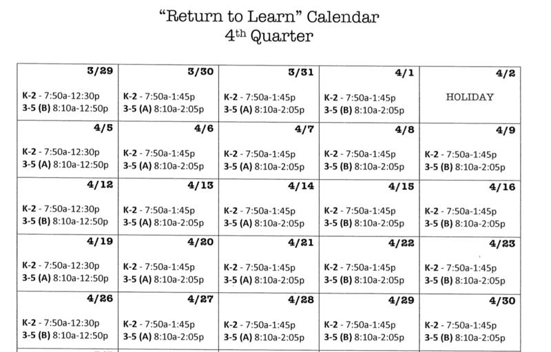 Return to Learn Calendar 4th Quarter Featured Photo