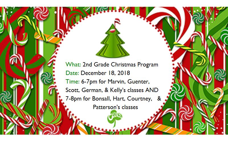 2nd Grade Christmas Program - December 18 Thumbnail Image