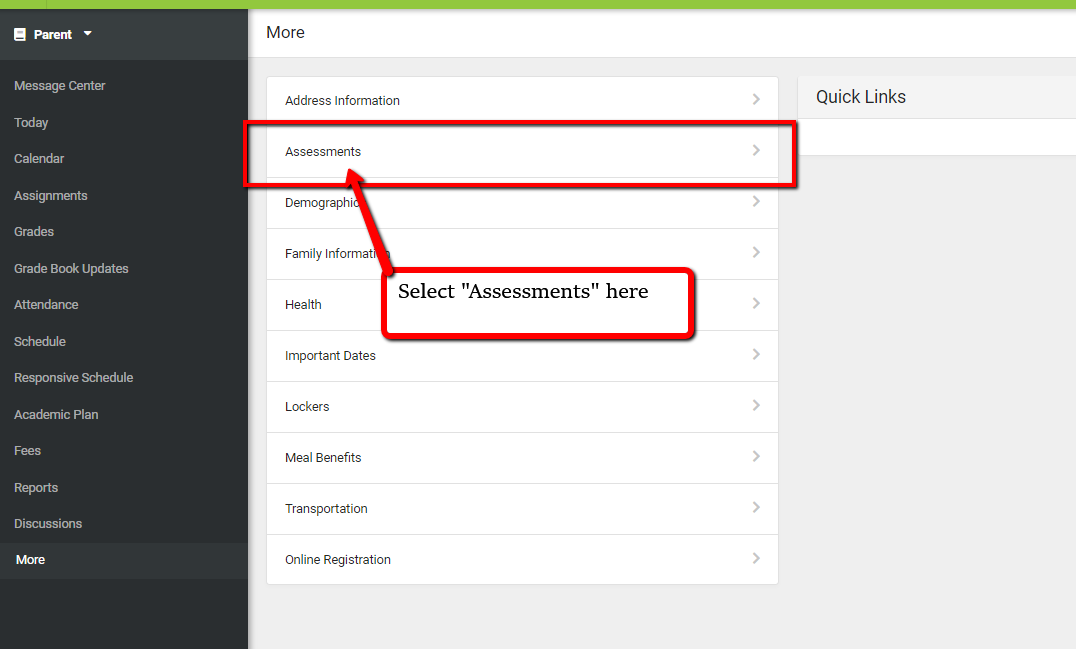 Screenshot of the 'Assessments' option from the Infinite Campus Portal.