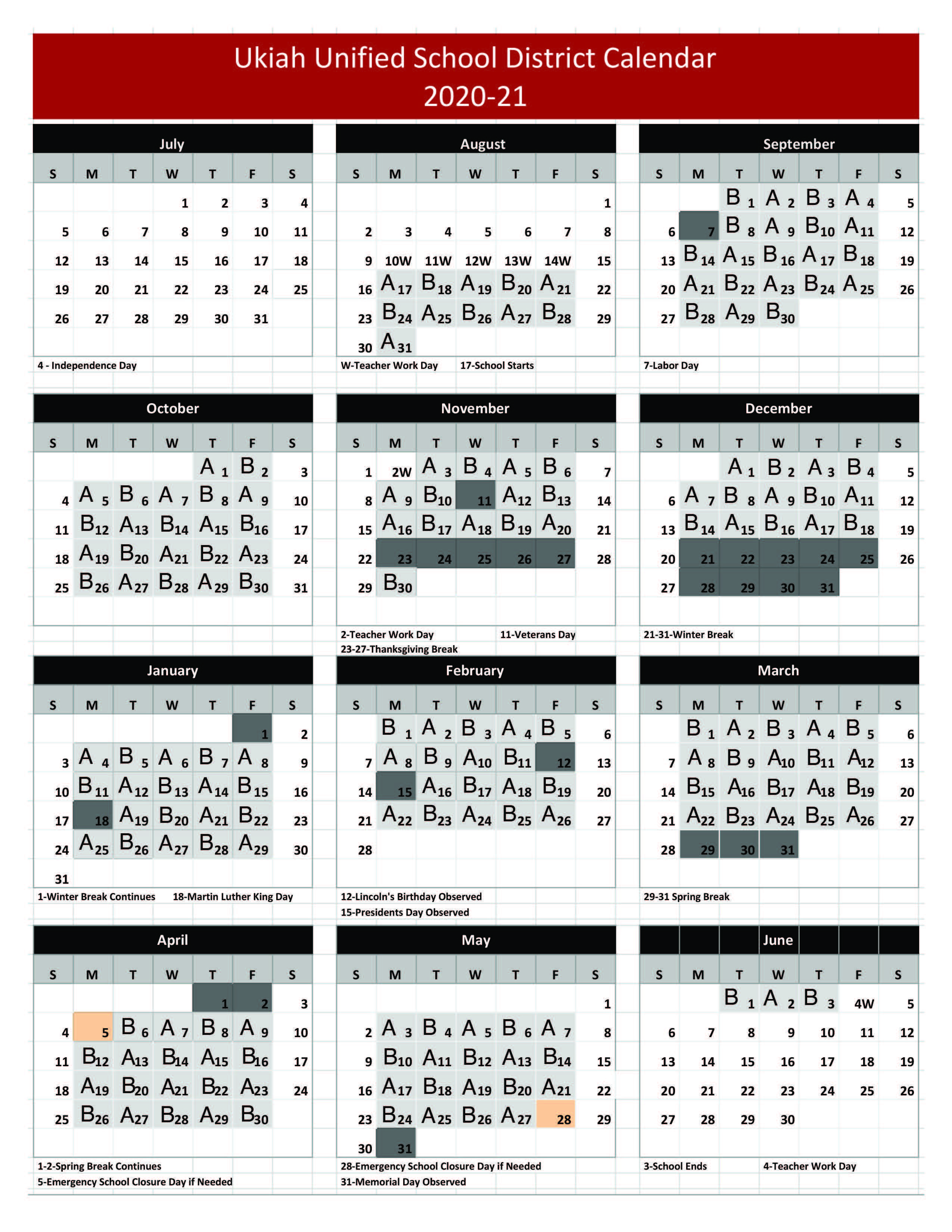 A and B Calender