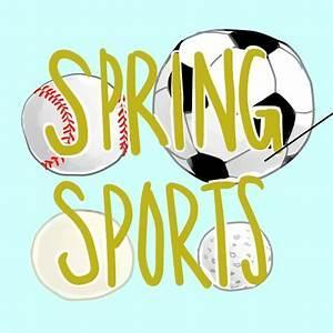collage of spring sports symbols