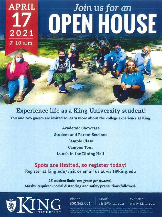 King University Open House April 17, 2021