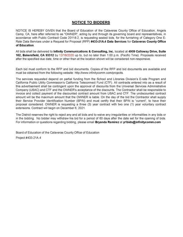 Bidders Public Notice
