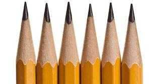 six sharp pencil tips