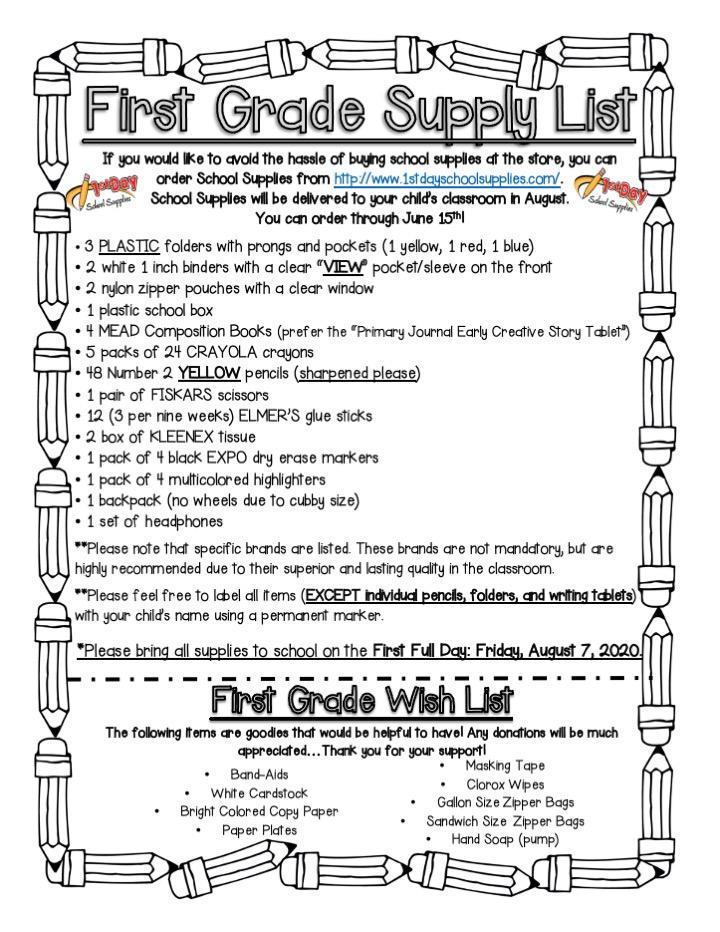 First Grade Supply List