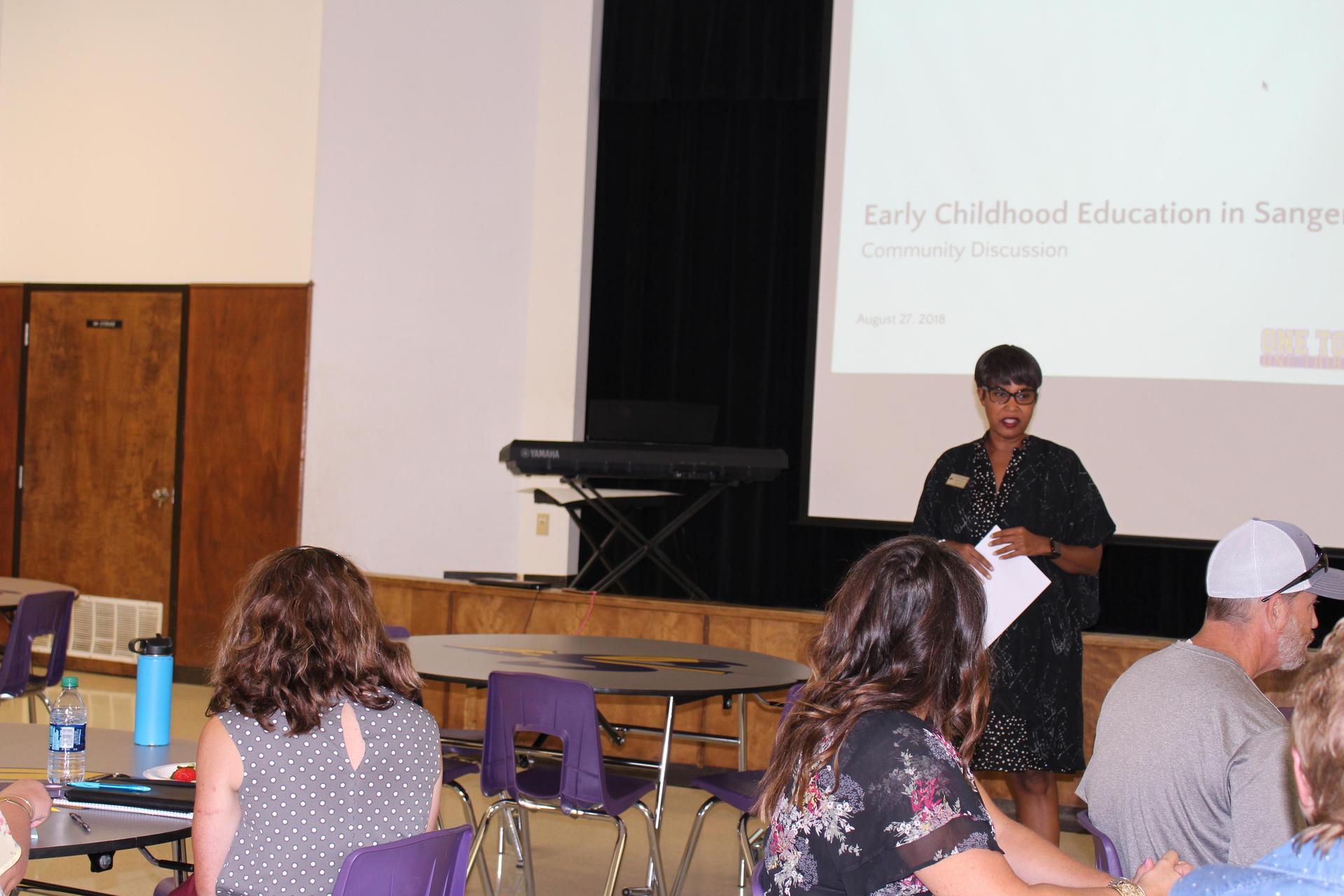 Dr. McCoy Jackson addresses the importance of Pre K in the Sanger Community