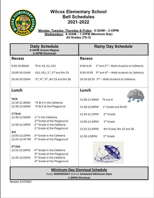 Picture of bell schedule