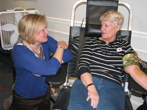 Kristen Meister encourages her mom during last year's blood drive.