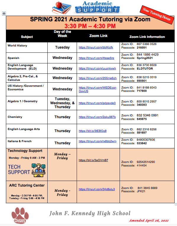 NEW HOUR for tutorial services is 3:30 - 4:30 PM Featured Photo