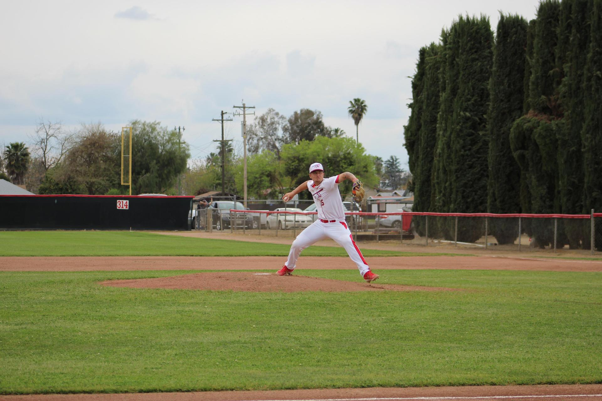 Varsity Baseball playing against Kerman
